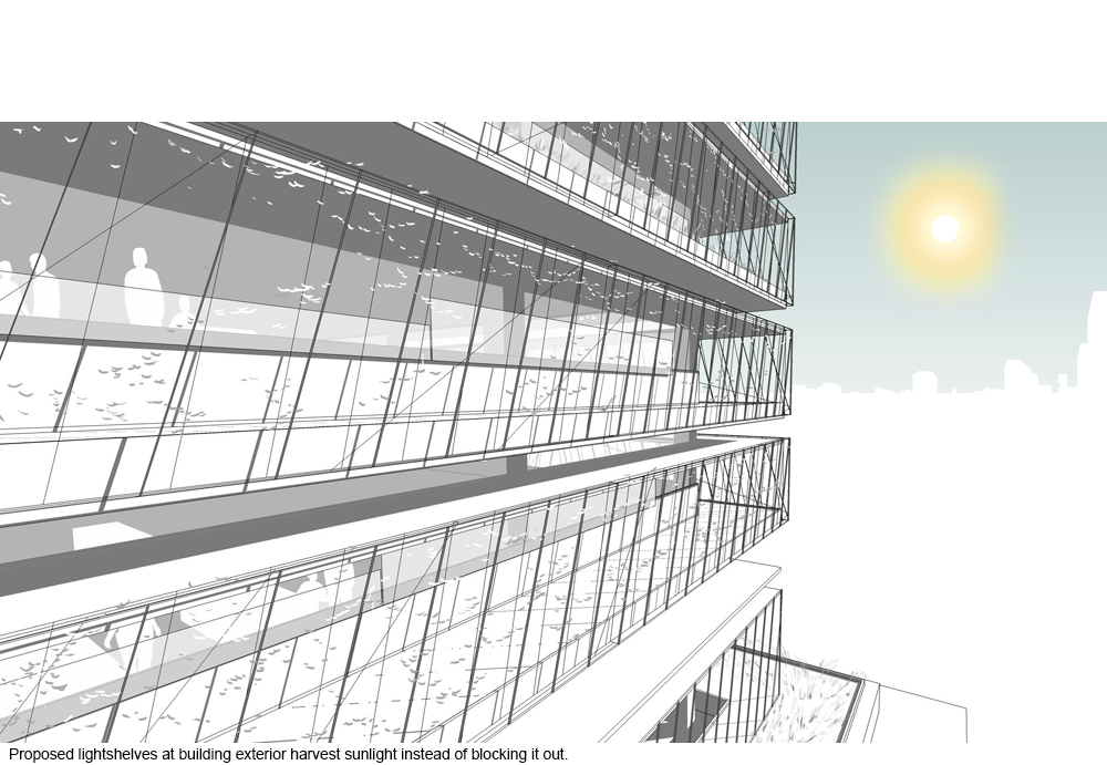 Retrofitted office building exterior light shelves control sunlight.