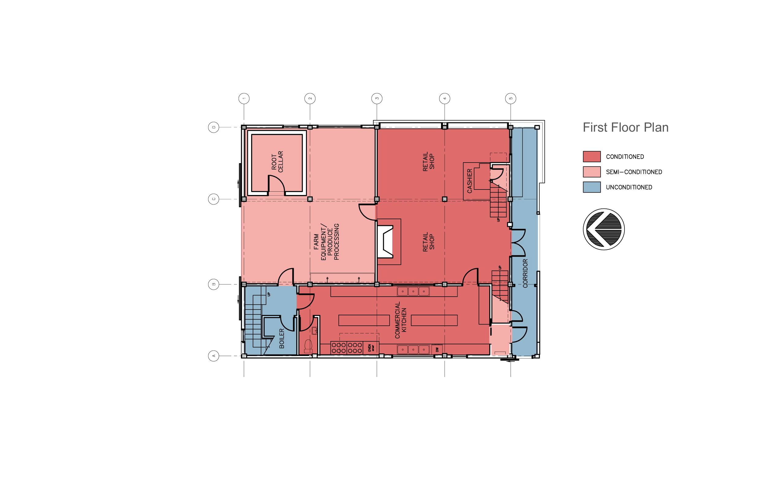 Modern barn renovation, first floor plan.