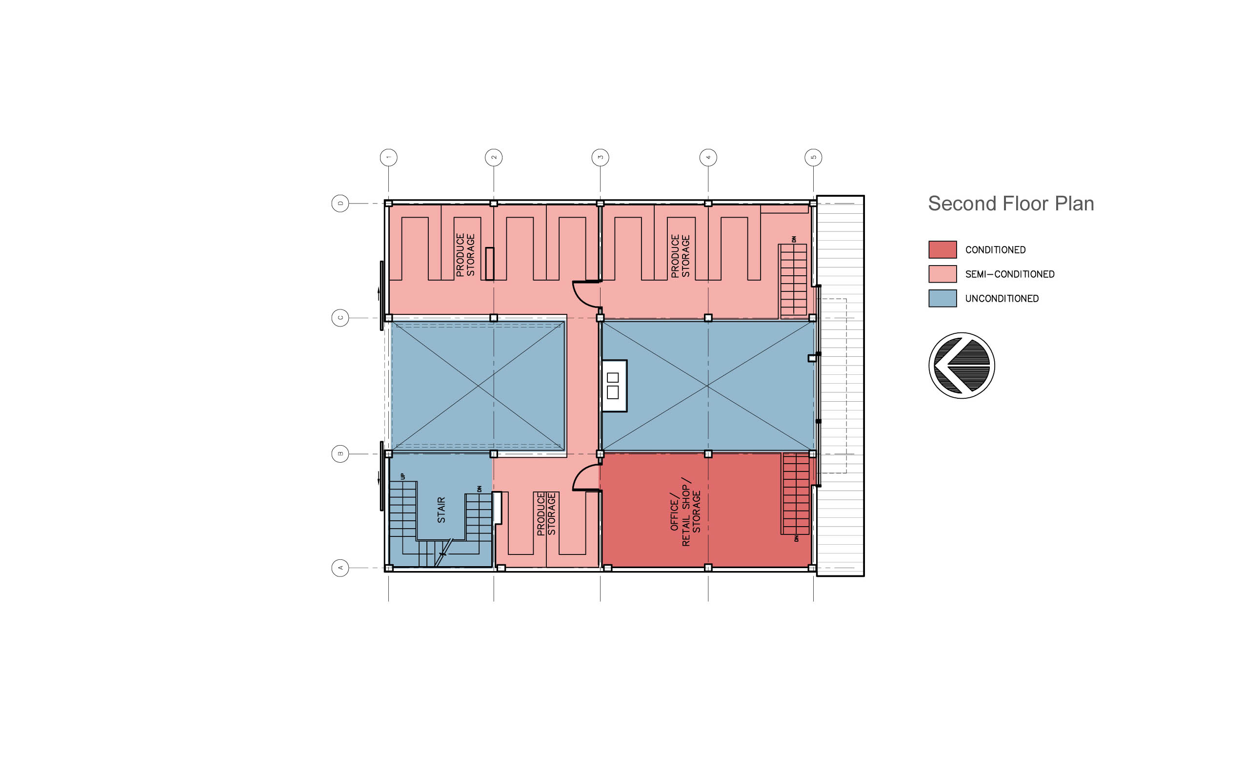 Modern barn renovation, second floor plan.