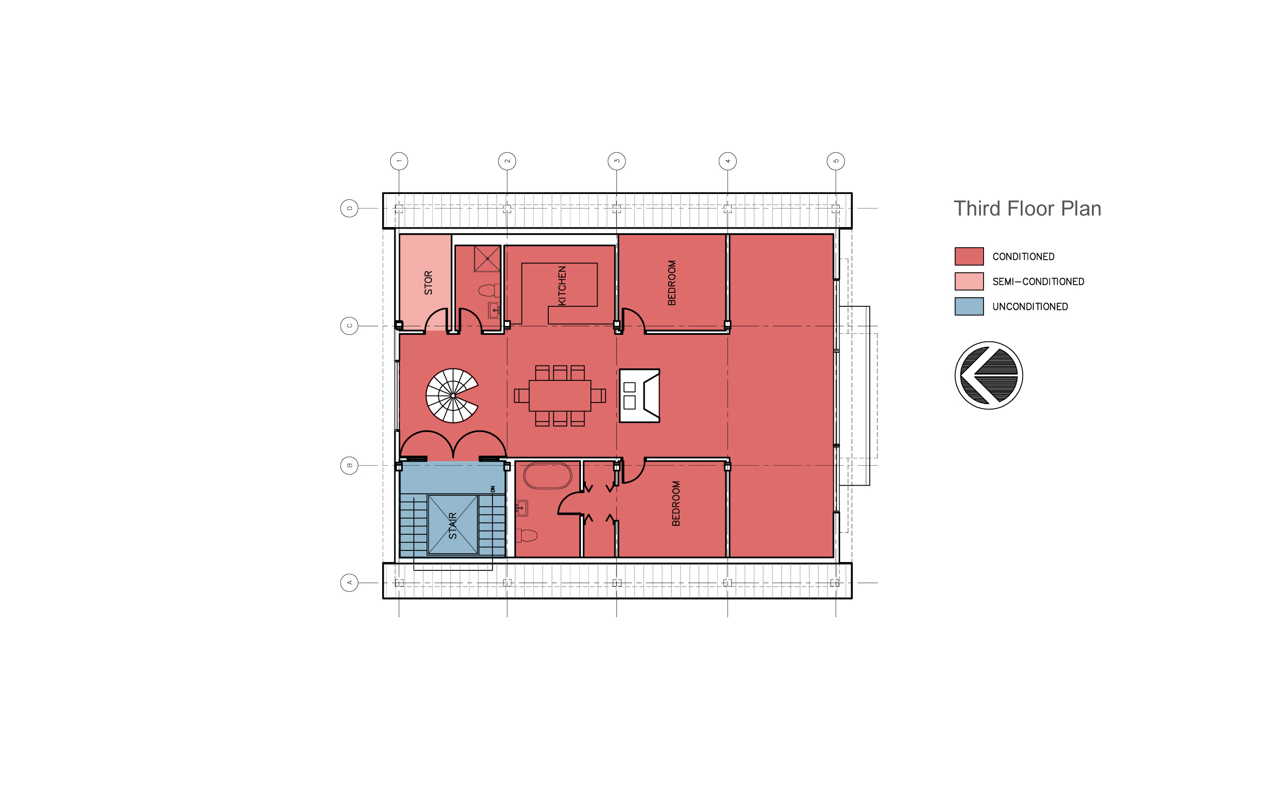 Modern barn renovation, third floor plan.