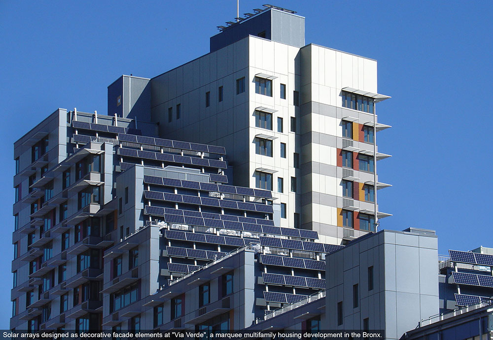 Decorative solar arrays at Via Verde in the Bronx, NY.