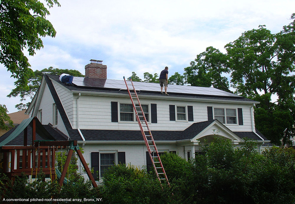 rooftop solar array on a house in Queens NY.
