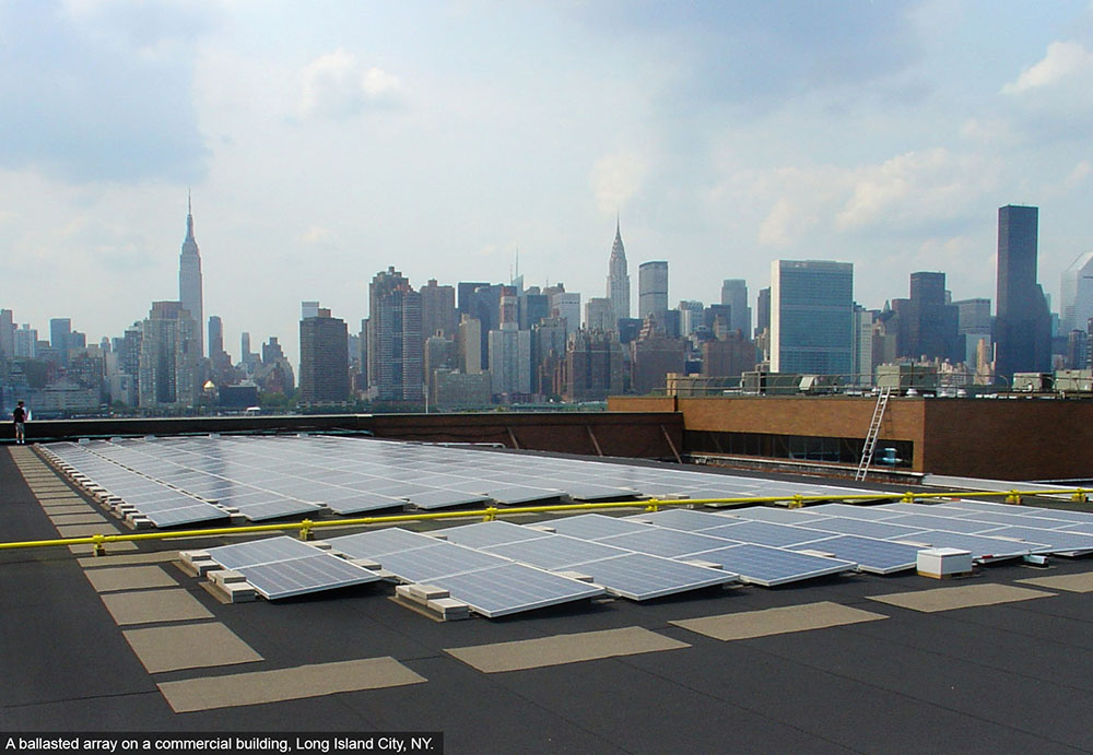 Rooftop solar array Queens NY.