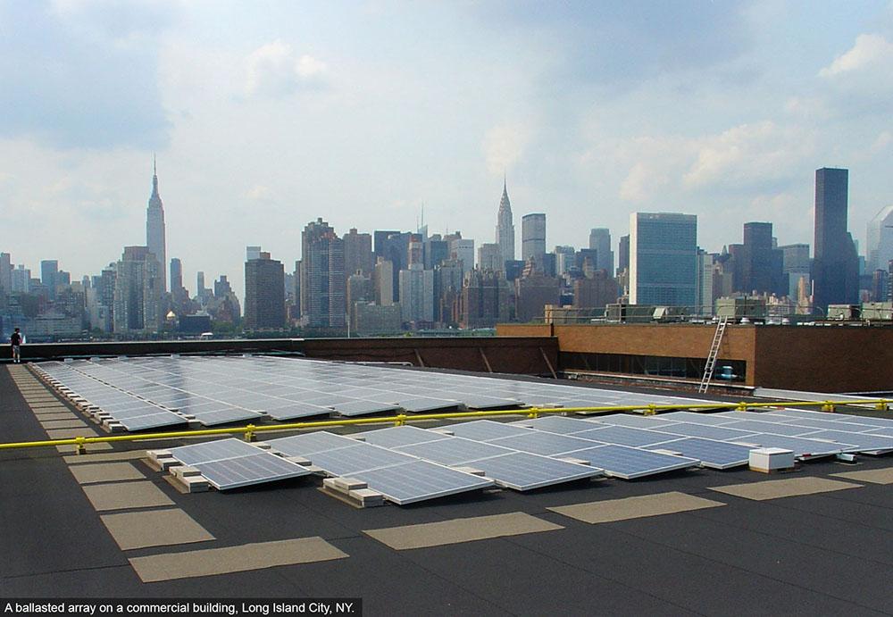 Rooftop solar array Queens NY.