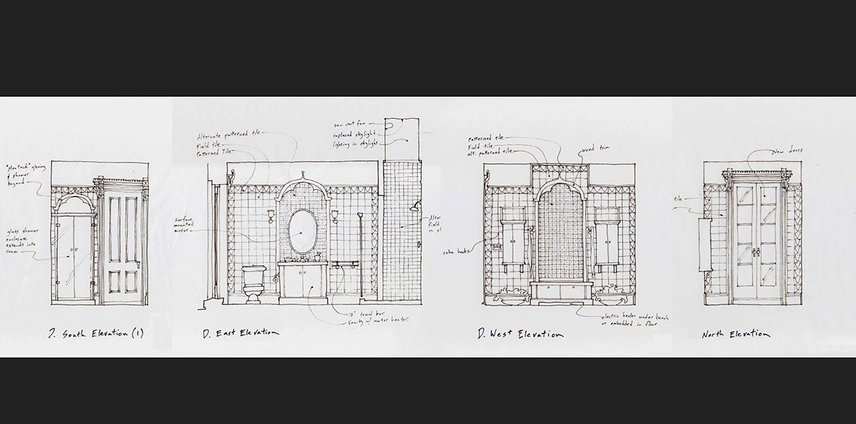 historic bathroom elevation drawings.