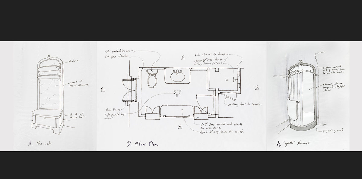 historic bathroom plan drawings.