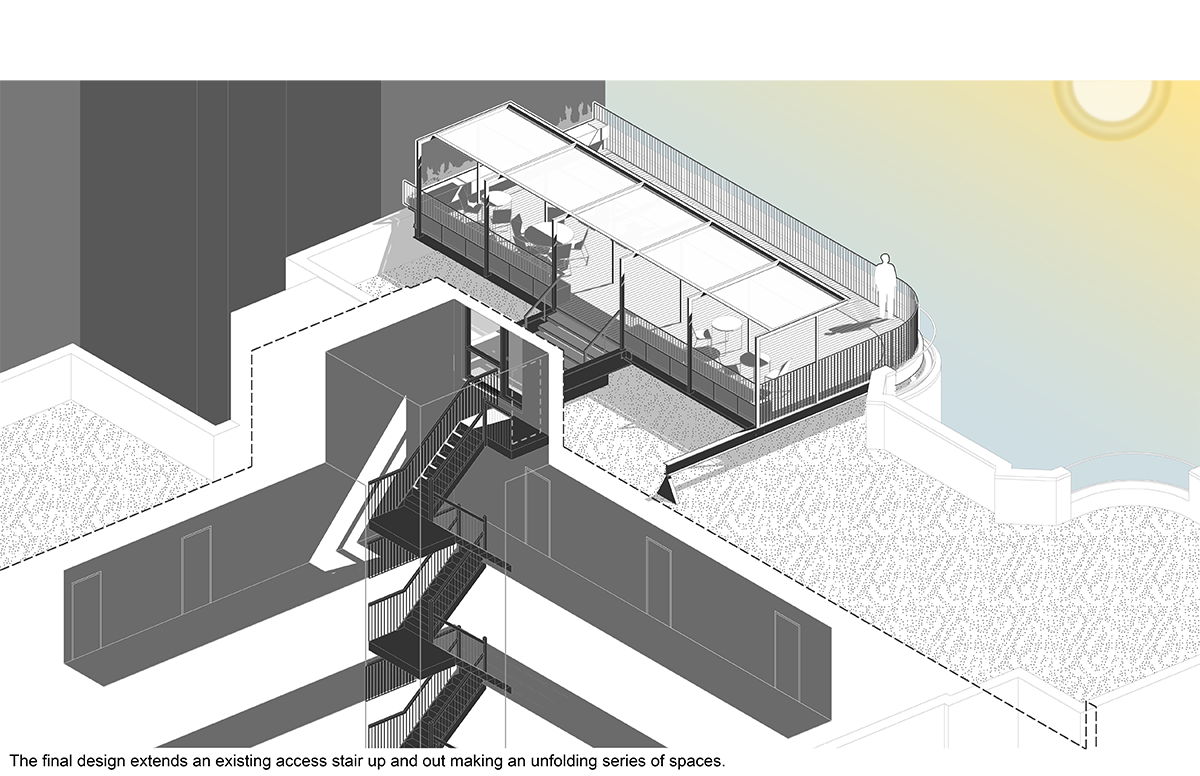 Brooklyn roof deck isometric diagram.