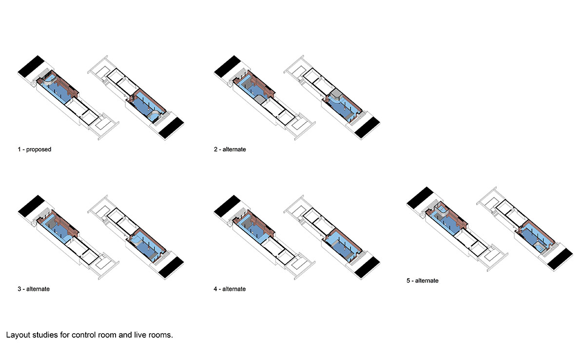 Recording studio layout design studies.