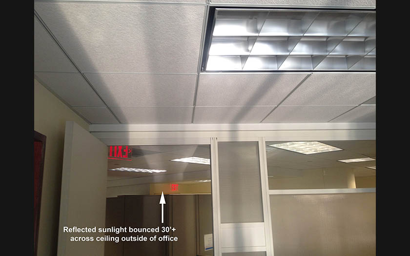 sunlight harvesting shades, reflected sunlight for office daylighting